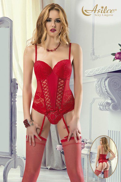 kırmızı büstiyer takım